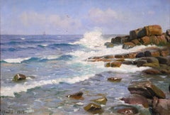 Waves on the Coast - Bornholm - Realist Oil, Seascape by Peder Mork Monsted