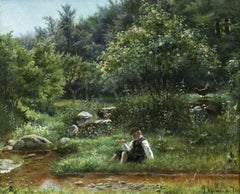 Young Boy Fishing by Stream - 19th Century Oil, Figures in Landscape by Monsted