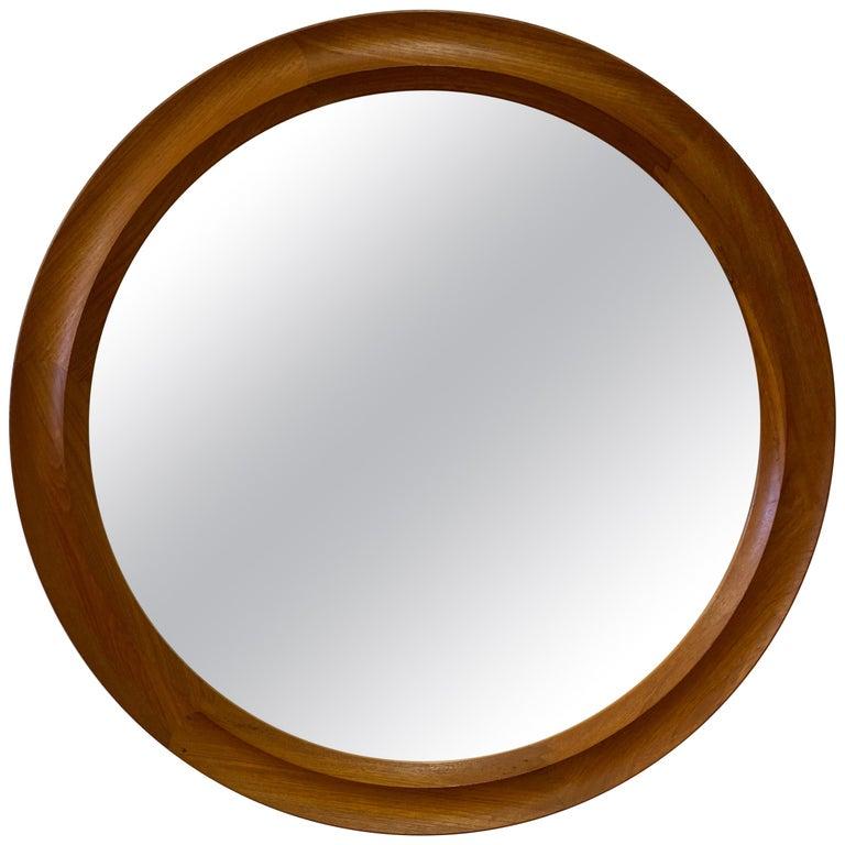 Pedersen and Hansen Round Teak Mirror Model 907 For Sale