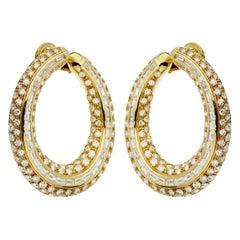 Pederzani Diamond Baguette Gold Hoop Earrings