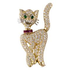Pederzani Yellow Gold Cat Pin