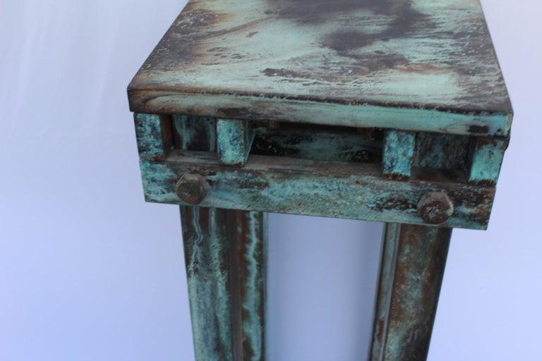 Mid-Century Modern Pedestal Art Deco/Modern, Antiqued Steel, Green Patina Finish For Sale