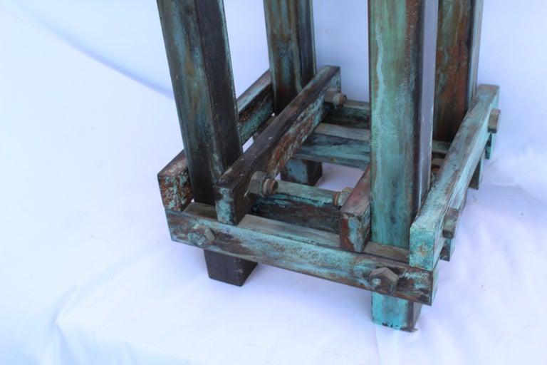 American Pedestal Art Deco/Modern, Antiqued Steel, Green Patina Finish For Sale