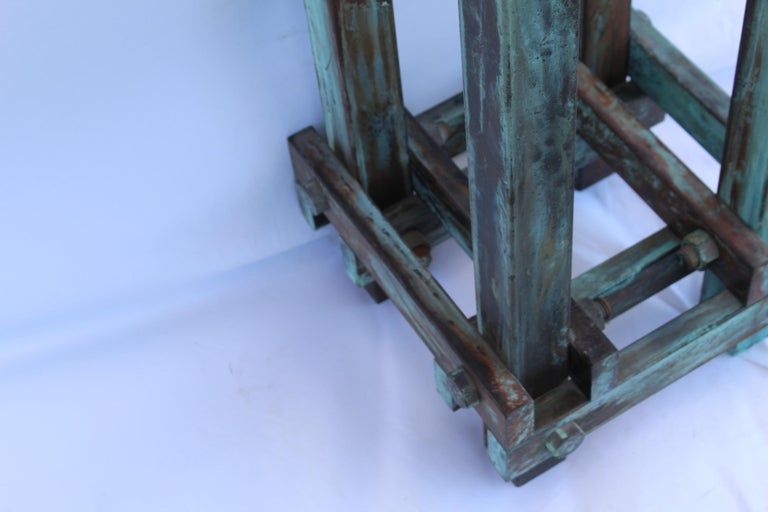 Hand-Crafted Pedestal Art Deco/Modern, Antiqued Steel, Green Patina Finish For Sale