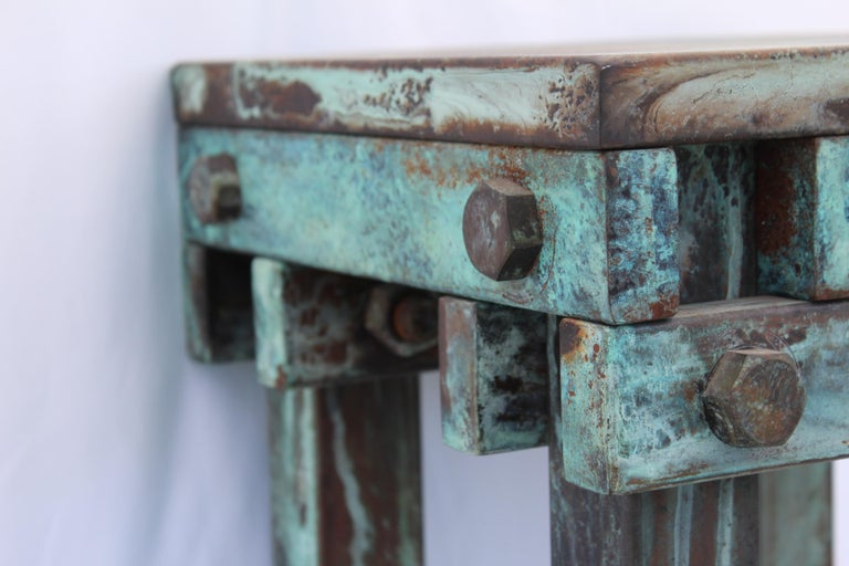 Pedestal Art Deco/Modern, Antiqued Steel, Green Patina Finish In Good Condition For Sale In Los Angeles, CA