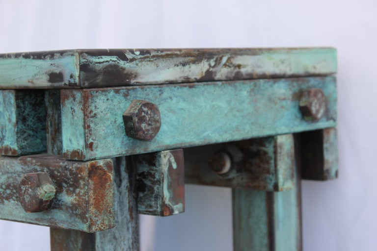 Late 20th Century Pedestal Art Deco/Modern, Antiqued Steel, Green Patina Finish For Sale