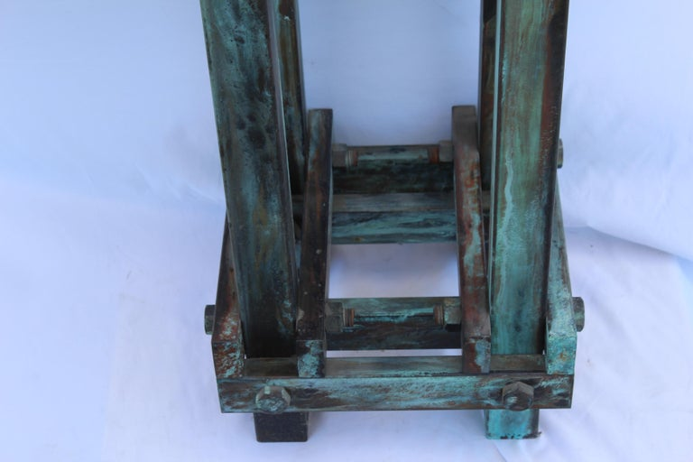 Pedestal Art Deco/Modern, Antiqued Steel, Green Patina Finish For Sale 1