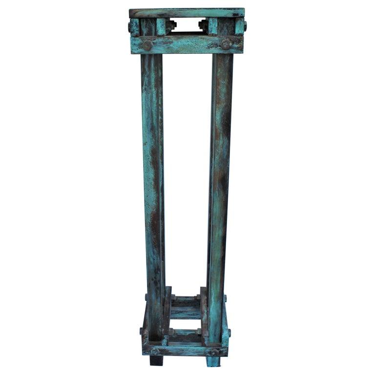 Pedestal Art Deco/Modern, Antiqued Steel, Green Patina Finish For Sale