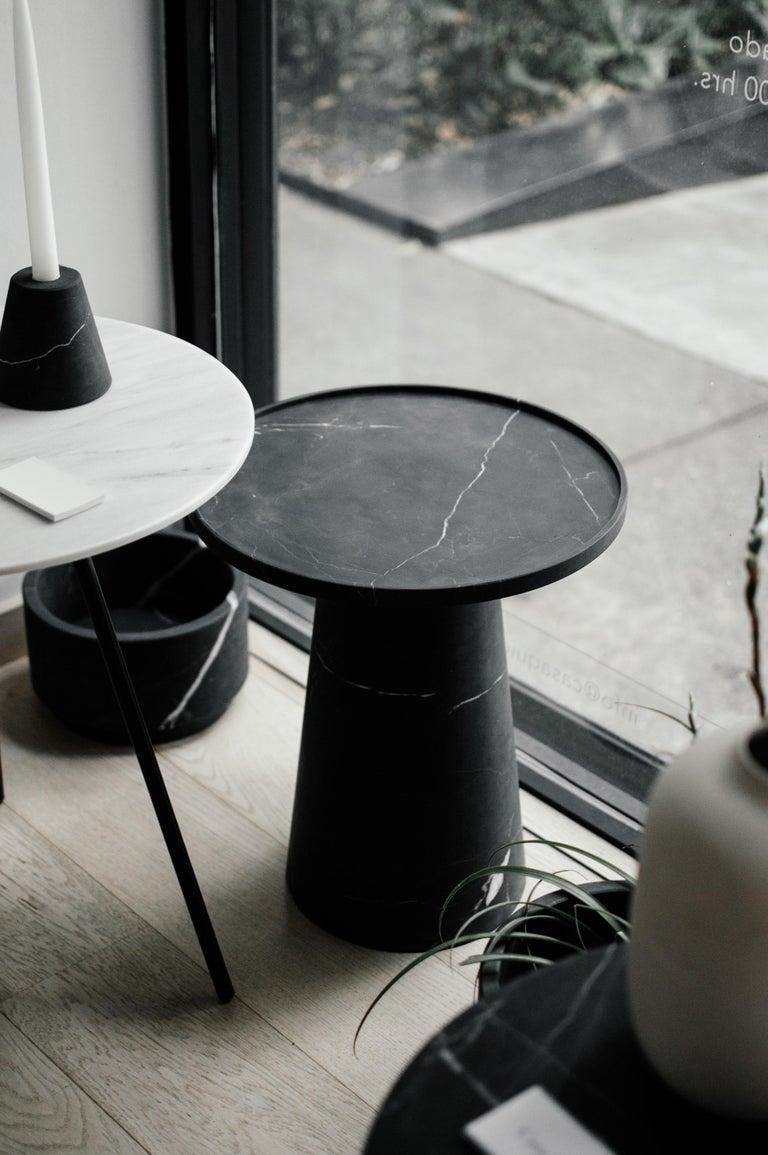 Modern Pedestal, Black Marble Side Table For Sale