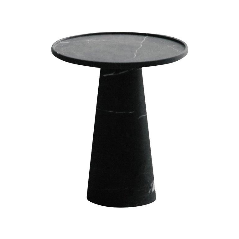 Pedestal, Black Marble Side Table For Sale