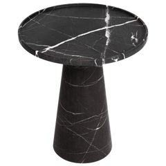 Pedestal Black Marble Side Table