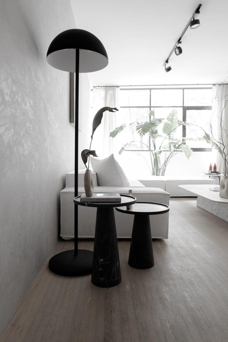 Modern Pedestal Black Marble Tall Side Table For Sale