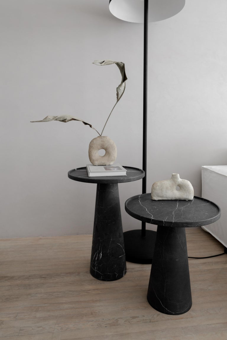 Mexican Pedestal Black Marble Tall Side Table For Sale