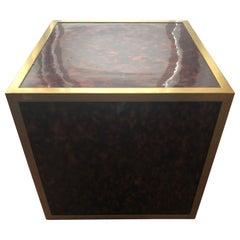 Pedestal Cube Table, Pattern Leopard, Hollywood Regency Style, circa 1970