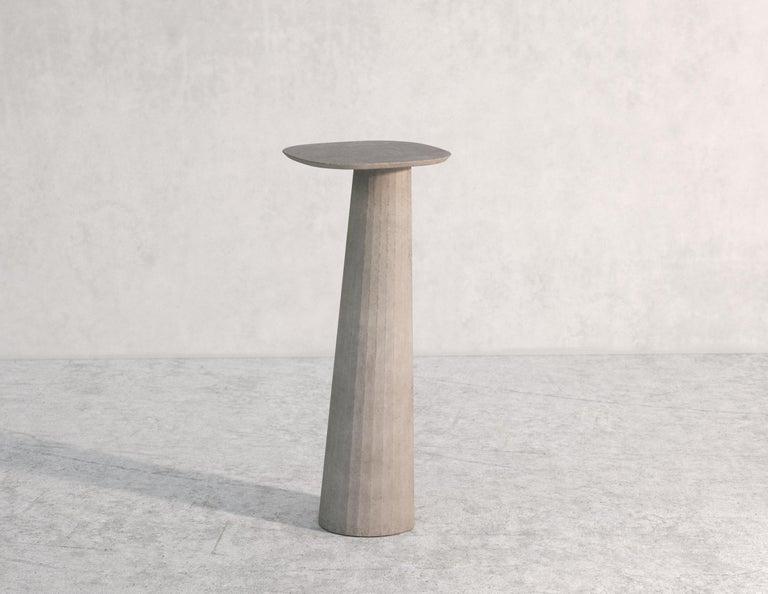 Classical Roman 21st Century Studio Irvine Fusto Concrete Pedestal Powder Beige Cement Handmade For Sale