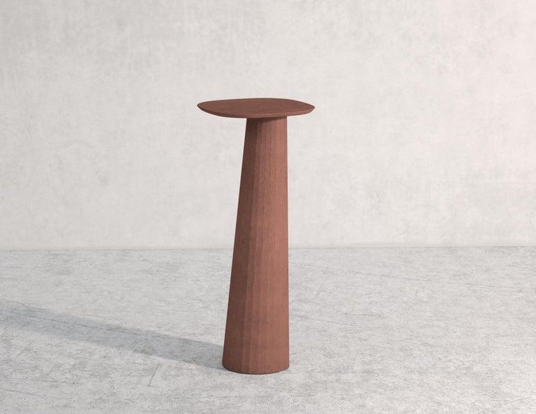 Italian 21st Century Studio Irvine Fusto Concrete Pedestal Powder Beige Cement Handmade For Sale