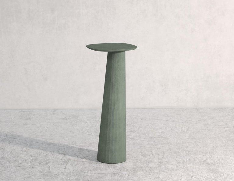 Molded 21st Century Studio Irvine Fusto Concrete Pedestal Powder Beige Cement Handmade For Sale