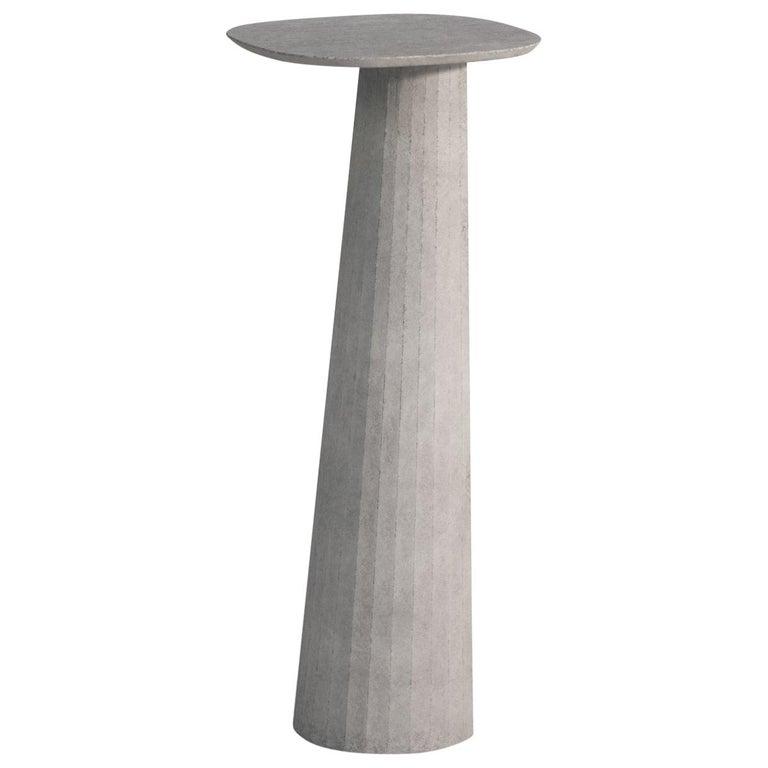 21st Century Studio Irvine Fusto Concrete Pedestal Powder Beige Cement Handmade For Sale