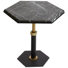 Pedestal Hexagonal Side Table in Black Steel & Satin Brass Base by Gabriel Scott