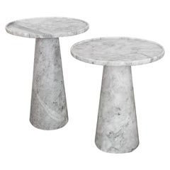 Two Pedestal white marble Side Tables set