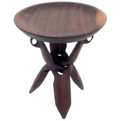 Pedestal Table, African 1960, in Solid Wood, with Tripod Feet, Brown, Demontable
