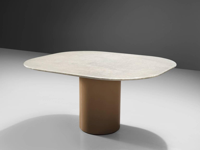 B&B Italia, dining table, marble, leather, Italy, 1970s.