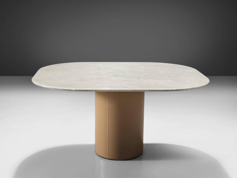 Post-Modern Pedestal Table by B&B Italia in Leather and Marble For Sale