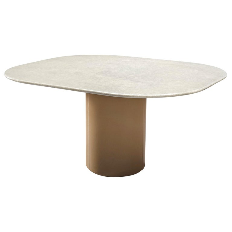 Pedestal Table by B&B Italia in Leather and Marble For Sale