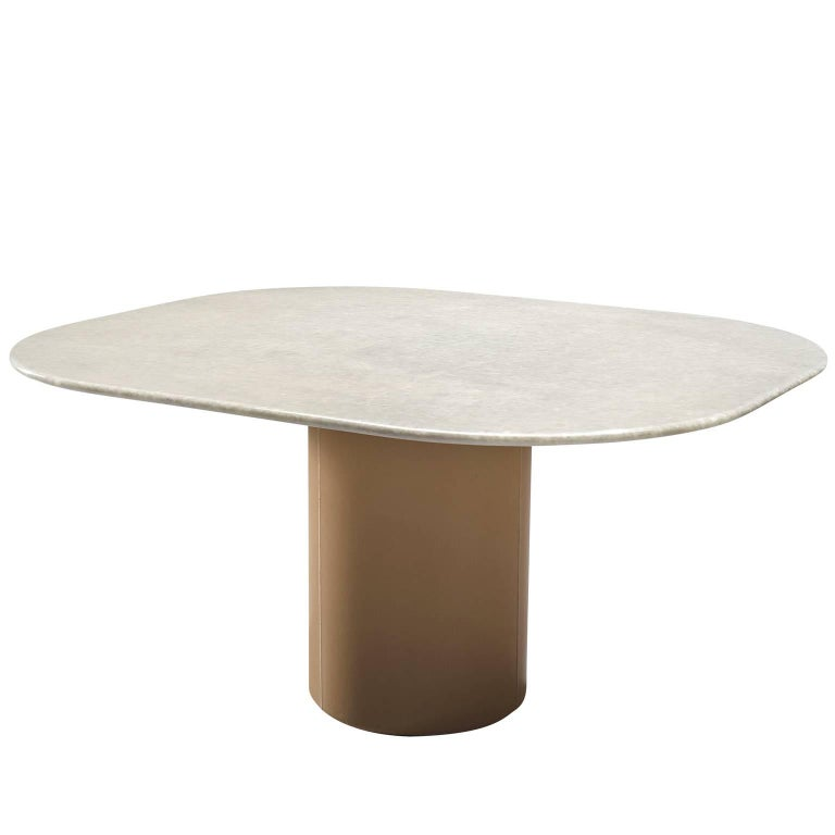 Pedestal Table by B&B Italia in Leather and Marble