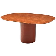Pedestal Table by B&B Italia in Leather and Red Marble