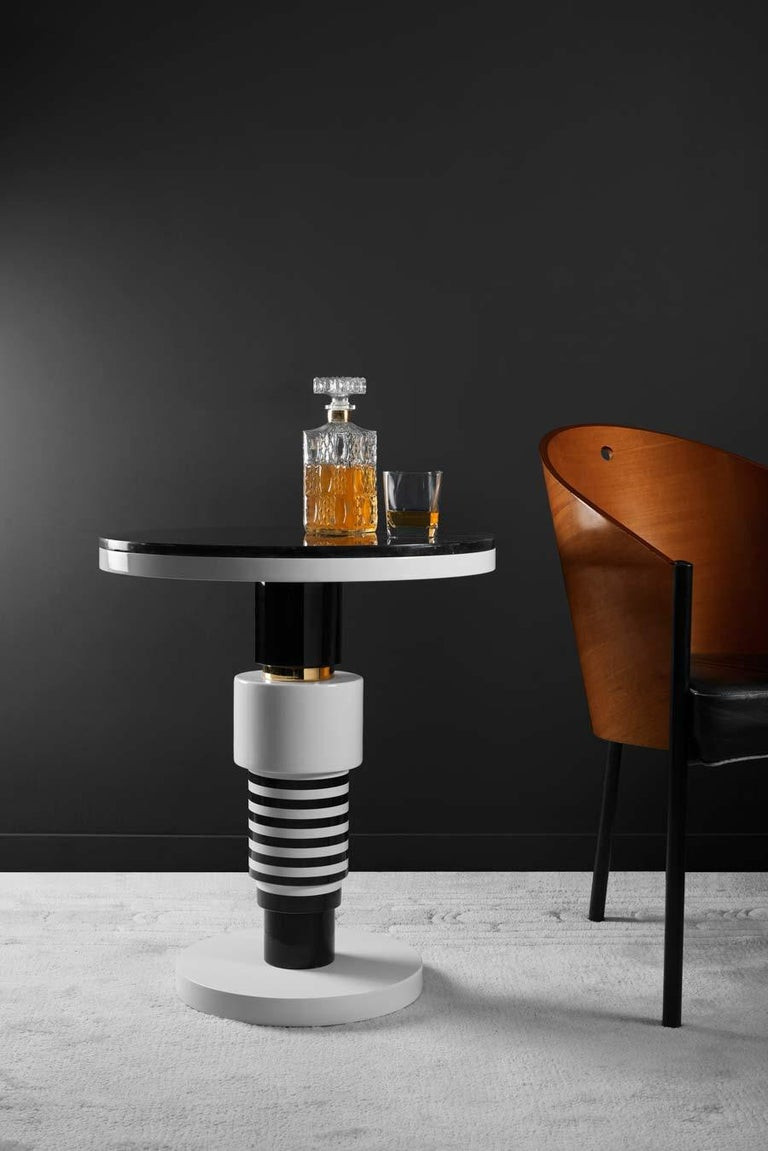 Pedestal Table, End of Sofa, Contemporary Design in Ceramic and Marble For Sale 1