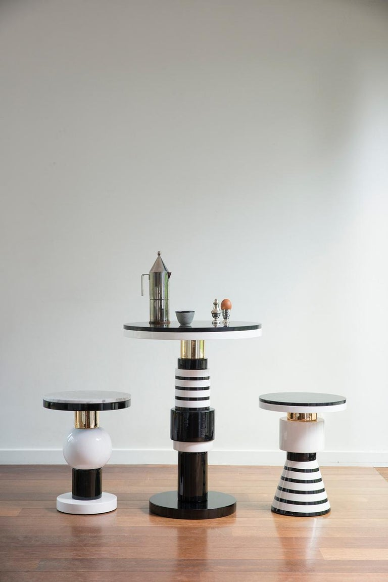 Pedestal Table, End of Sofa, Contemporary Design in Ceramic and Marble For Sale 4