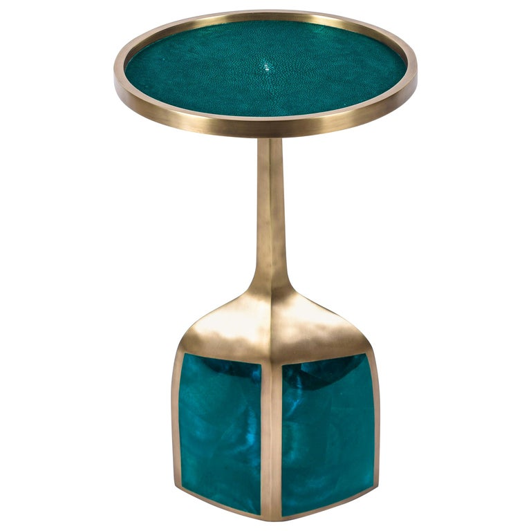 Art Deco Pedestal Table Large in Black Shagreen and Brass by R&Y Augousti For Sale