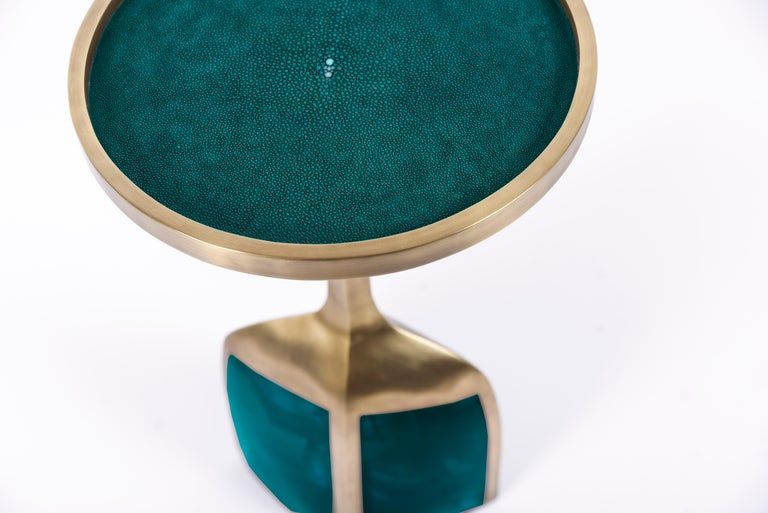 French Pedestal Table Large in Black Shagreen and Brass by R&Y Augousti For Sale