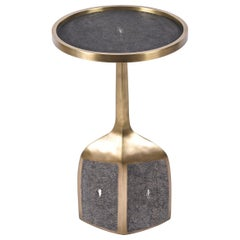 Pedestal Table Large in Black Shagreen and Brass by R&Y Augousti