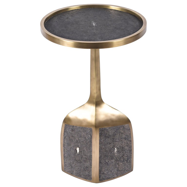 Pedestal Table Large in Black Shagreen and Brass by R&Y Augousti For Sale