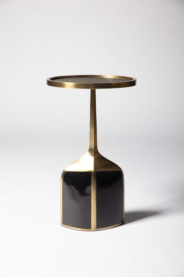 Pedestal Table Large in Black Shagreen, Blue Pen Shell and Brass by R&Y Augousti For Sale 3