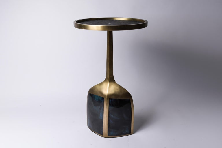 Hand-Crafted Pedestal Table Large in Black Shagreen, Blue Pen Shell and Brass by R&Y Augousti For Sale