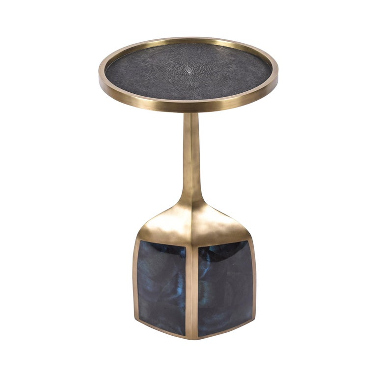 Pedestal Table Large in Black Shagreen, Blue Pen Shell and Brass by R&Y Augousti For Sale