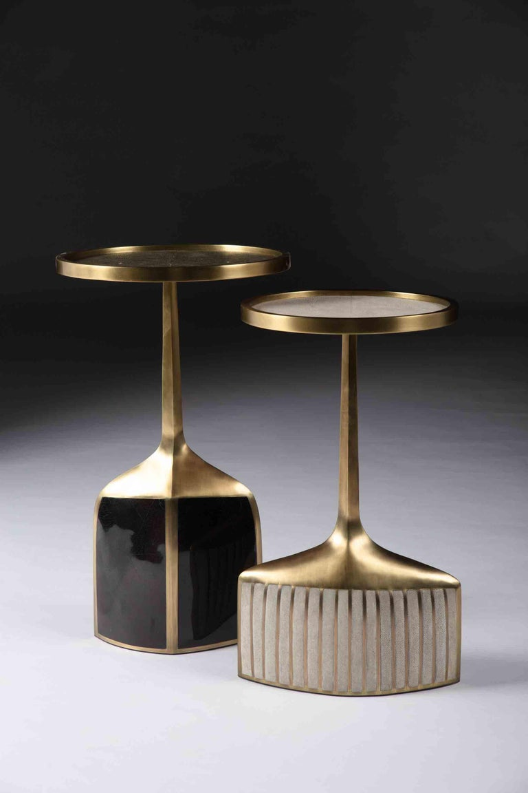 Pedestal Table Large in Black Shagreen, Shell, and Brass by R&Y Augousti For Sale 4
