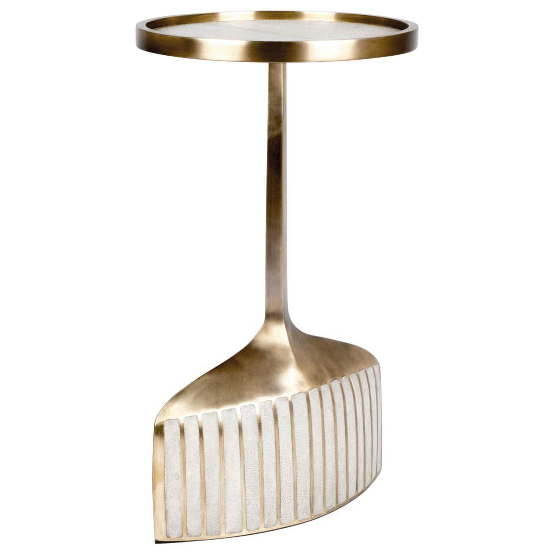 Pedestal Table Small in Cream Shagreen & Brass by R & Y Augousti