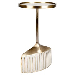 Pedestal Table Small in Cream Shagreen & Brass by R & Y Augousti