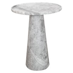 Pedestal white marble tall Side Table