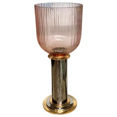 Pedestal with Glass Ribbed Hurricane, Blush