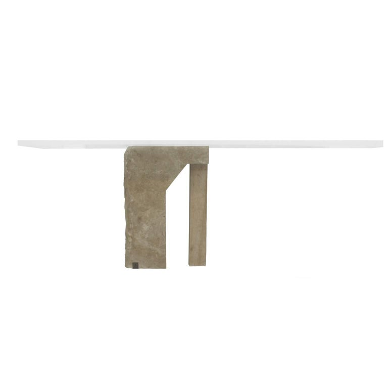 Brazilian Contemporary Furniture Designer: Gustavo Neves AEon Collection Pedra desk Materials: stone (limestone), metal (brass) darkened with manual treatment, manually sanded acrylic. Brazil 2017 For this project, Gustavo Neves designed the