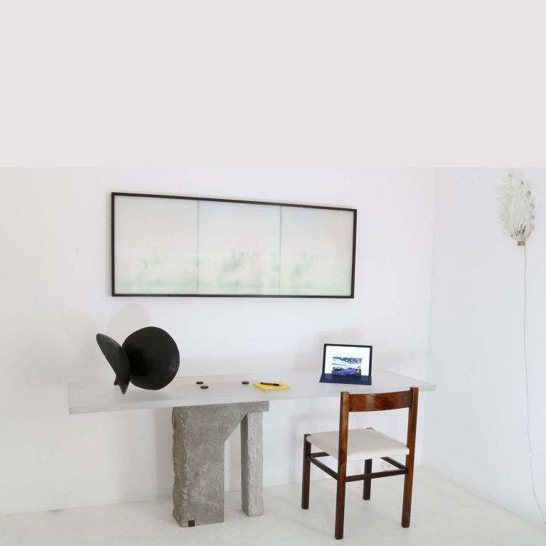 Hand-Crafted Pedra Desk by Gustavo Neves, Brazilian Contemporary Furniture For Sale
