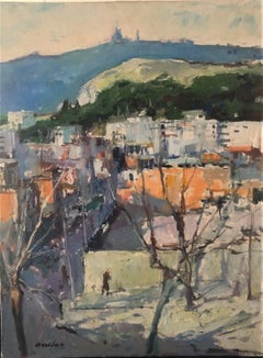 Barcelona view landscape Spain oil on canvas painting