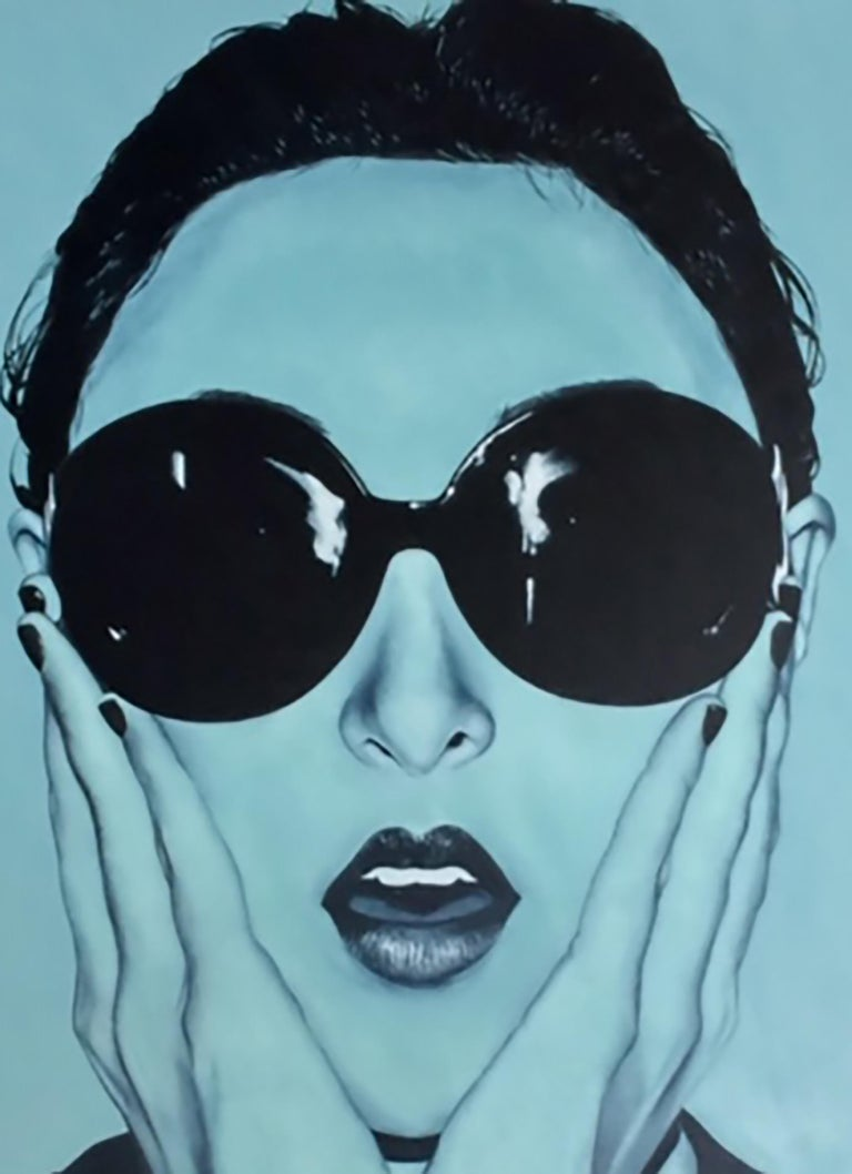 Big Blue Oh! Pedro Bonnin, Oil on Canvas-Monochrome, Female Portrait, Figurative For Sale 1