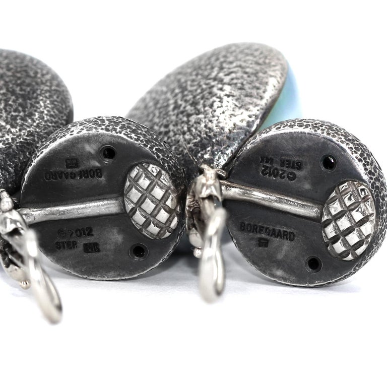 Pedro Boregaard One of a Kind 2.75tcw Diamond Blue Mabe Pearl Clip Drop Earrings For Sale 1