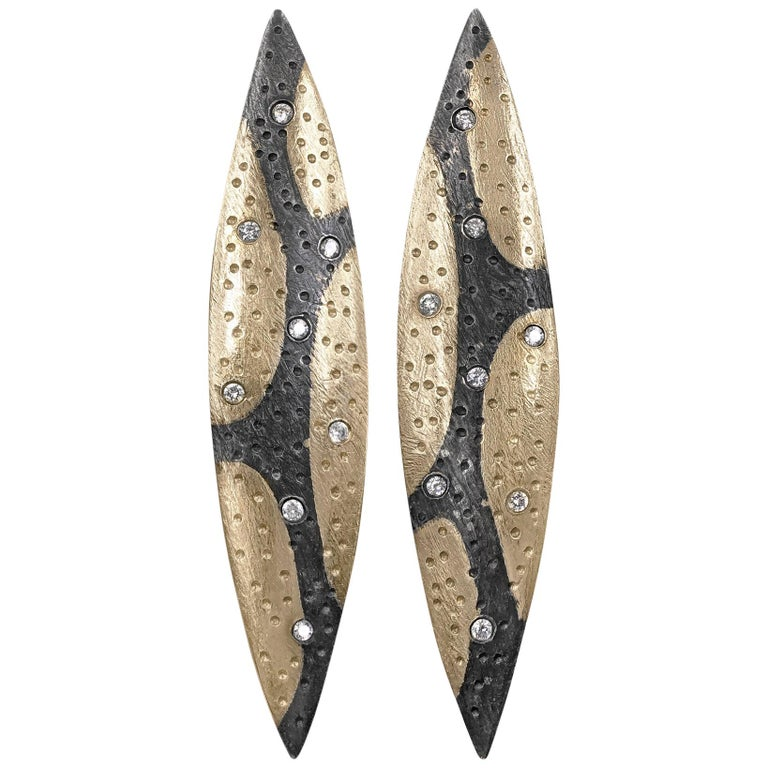 Pedro Boregaard White Diamond Camouflage Gold Oxidized Silver Earrings For Sale